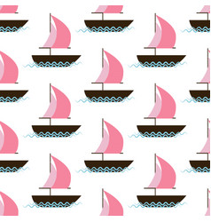 ship on waves seamless pattern vector image