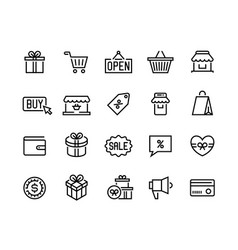 Shopping line icons online store and e-commerce vector