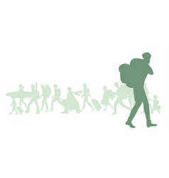 silhouette man with backpack group diverse vector image