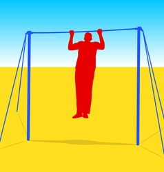 Silhouette of an athlete on the horizontal bar vector image