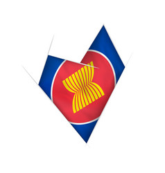 Sketched crooked heart with asean flag vector