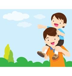 Son Sit On Dad Shoulder look sky vector image
