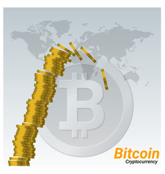 Stack of bitcoins are collapsing vector