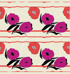 Stylized poppies and tulips vector