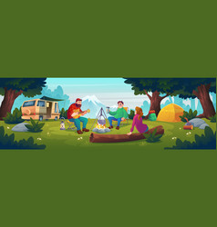 summer camp with people sitting near bonfire vector image