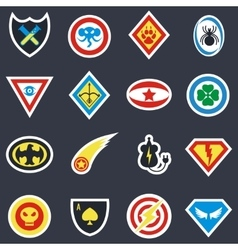 Superhero color badges emblems logos vector