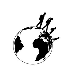 Traveling family silhouettes spinning planet earth vector