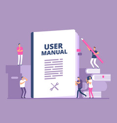 User manual concept people with guide instruction vector