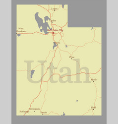 Utah accurate high detailed state map vector