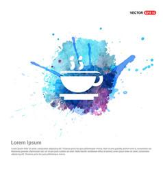 Warm drink icon - watercolor background vector