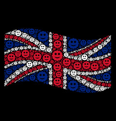 waving great britain flag mosaic of smiled sticker vector image