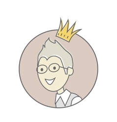 Young man with crown on his head avatar icon vector