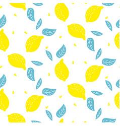 bright summer juicy lemon cartoon seamless pattern vector image vector image
