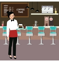 cafe waitress holding coffee serve with interior vector image vector image