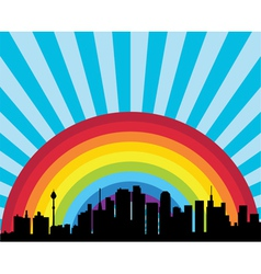 city and rainbow vector image vector image