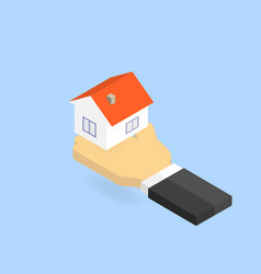 hand holds the house isometric vector image
