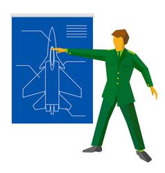 Military man show blueprint with aircraft vector