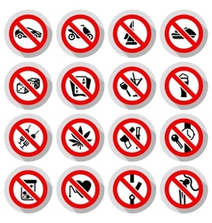 Set Prohibited symbols on paper stickers vector image