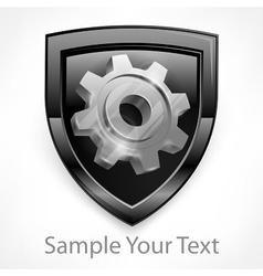 Shield with gear in grey vector image vector image