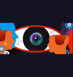 clear vision big eye thinking concept of digital vector image vector image