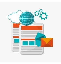 documents globe email cloud gear vector image