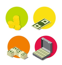 set money icons vector image vector image