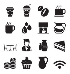 silhouette coffee shop icons set vector image vector image