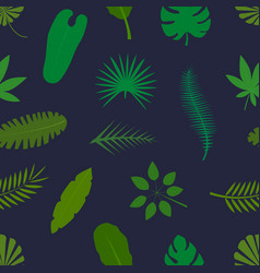 tropical palm leaves green silhouettes seamless vector image