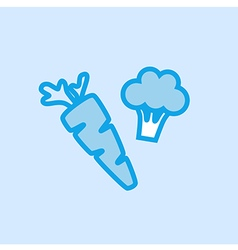 Carrot Broccoli Vegetable Icon Simple Blue vector image vector image