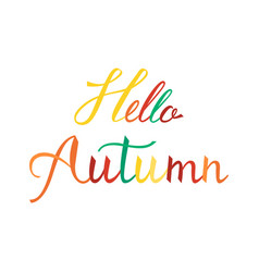 hello autumn modern brush phrase vector image vector image