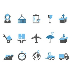 logistics and shipping icons set blue series vector image