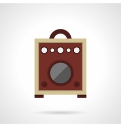 Retro wooden speaker flat color icon vector image