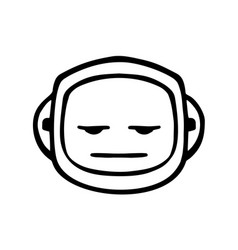 thin line expressionless face icon vector image