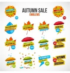Autumn Sale Discount Logos or Emblems Set vector image