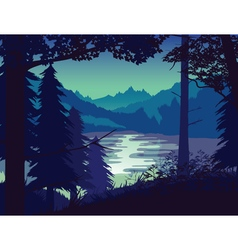 Background of landscape with river forest and vector image vector image