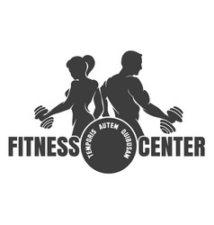 fitness center emblem with silhouettes of vector image