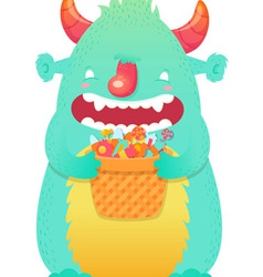 Funny smiling Halloween fluffy monster character vector image