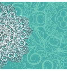 Half of pink snowflake on cyan background vector image