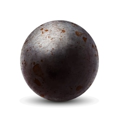 Realistic old cannonball with shadow on white vector image