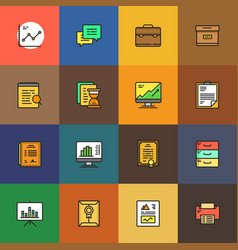 simple business and finance cartoon style icon set vector image