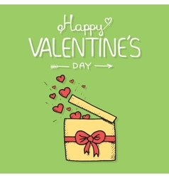 Valentine gift is being openned to release hearts vector image vector image