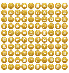 100 coin icons set gold vector