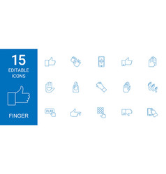 15 finger icons vector