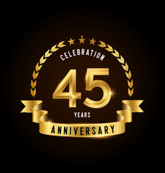 45 years anniversary celebration logotype golden vector