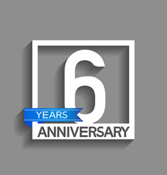 6 years anniversary logotype with white color vector
