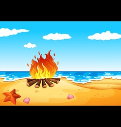 A campfire at the beach vector image