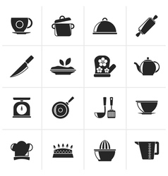 Black Restaurant and kitchen items icons vector