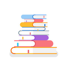 books in colorful cover lie on each other vector image