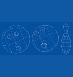 Bowling skittles and ball outline vector