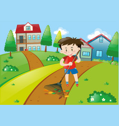 Boy in red shirt raking leaves at home vector